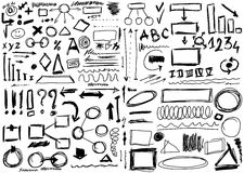 Set hand drawn, doodle, shapes. And circle, square and line, numbers and  triangle Royalty Free Stock Photos