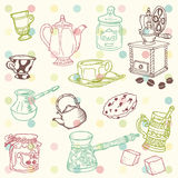 Set of hand drawn doodle - Tea and Coffee Time. In Royalty Free Stock Photography