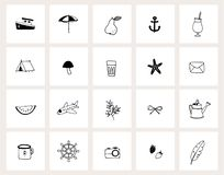 Set of hand drawn doodle web icons. Line art. Summer, holiday, travel concept. Black and white design. Isolated vector royalty free stock images