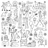 Set of hand drawn doodle winter elements Royalty Free Stock Photos