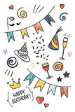 Set of hand drawn doodles, birthday theme Royalty Free Stock Photos
