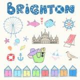 Set of hand drawn doodles of Brighton, England Royalty Free Stock Photos