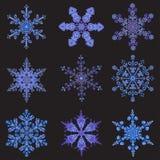 Set hand-drawn doodles color snowflake. Zentangle mandala style. Royalty Free Stock Image