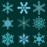 Set hand-drawn doodles color snowflake. Zentangle mandala style. Royalty Free Stock Photography