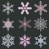 Set hand-drawn doodles color snowflake. Zentangle mandala style. Royalty Free Stock Photography
