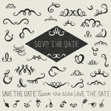 Set of hand drawn doodles design elements Royalty Free Stock Photos