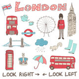 Set of hand drawn  doodles of London, England Royalty Free Stock Image