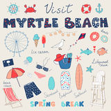 Set of hand drawn doodles of Myrtle Beach, South Carolina, USA Royalty Free Stock Images