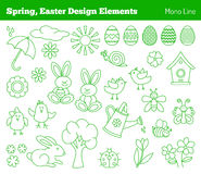 Set of hand drawn Easter design elements Stock Image