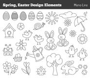 Set of hand drawn Easter design elements Stock Photos