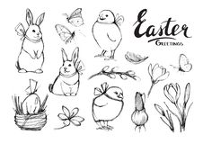 Set of hand drawn Easter elements royalty free illustration