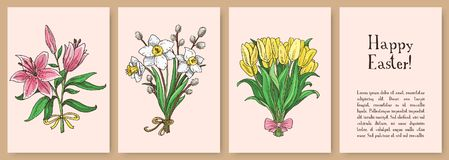 Set of hand drawn easter gift cards. Cards with spring flowers: lily, tulip, narcissus. Greate holiday Royalty Free Stock Photography