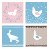 Set of hand drawn Easter greeting cards, invitations with farm animals. Cute bunny, hen, duck, goose and floral elements Stock Photo