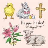 Set of hand drawn easter symbols. Easter rabbit, little chick, lamb, cross, lily bouqet and willow branch Royalty Free Stock Images
