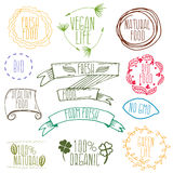 Set of hand drawn eco frendly labels. illustration Royalty Free Stock Photos