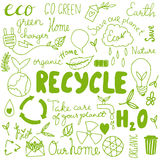 Set of hand drawn eco friendly doodle icons Stock Images