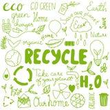 Set of hand drawn eco friendly doodle icons. Unique vector elements Stock Images