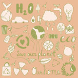 Set of hand drawn eco friendly doodle icons. Unique vector elements Stock Photo