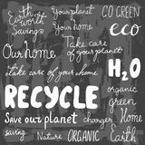 Set of hand drawn eco friendly doodle icons. Unique vector elements Royalty Free Stock Photography