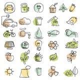 Set of hand drawn eco icons Stock Image