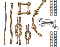Set of hand drawn editable brushes of ropes and chains. Royalty Free Stock Photo