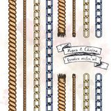 Set of hand drawn editable brushes of ropes and chains. Royalty Free Stock Photos
