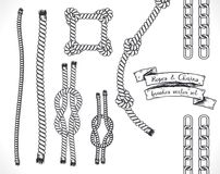 Set of hand drawn editable brushes of ropes and chains. Vector EPS10 illustration Stock Image