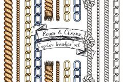 Set of hand drawn editable brushes of ropes and chains. Vector EPS10 illustration stock illustration