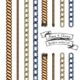 Set of hand drawn editable brushes of ropes and chains. Stock Photography