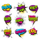 Set hand drawn effects comic speech bubbles. Hey blog lol fine set hand drawn pictures effects template comics speech bubble halftone dot background pop art Royalty Free Stock Photography