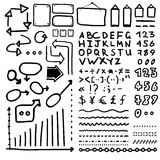 Set of hand drawn elements Arrows, lines, graphics, letters, math signs . Royalty Free Stock Images