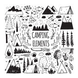 Set of hand-drawn elements for design logo camping. Recreation, adventure.Set elements of vintage woods camp badges and travel logo emblems Royalty Free Stock Photography
