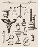 Set of hand-drawn elements of pharmacy or chemistry. Royalty Free Stock Photo
