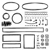 Set of hand drawn elements for selecting text. Stock Photography