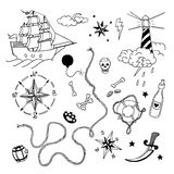 Set of hand drawn elements in tattoo style Stock Images