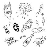Set of hand drawn elements in tattoo style Royalty Free Stock Photography