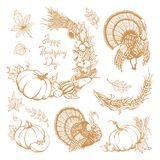 Set of hand-drawn elements for Thanksgiving Day. Royalty Free Stock Photography