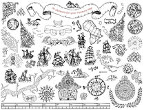 Set with hand drawn elements for treasure hunt and pirate map on white. Graphic set with hand drawn elements for pirate map design on white. Vintage adventures stock illustration