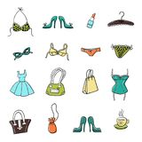 Set of hand-drawn elements of women`s accessoiries. Set of hand-drawn sketch women`s accessories and clothes - dress, lingerie, shoes, bags etc. Vector doodle Royalty Free Stock Images