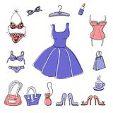 Set of hand-drawn elements of women`s accessoiries. Set of hand-drawn sketch women`s accessories and clothes - dress, lingerie, shoes, bags etc. Vector doodle Stock Photography