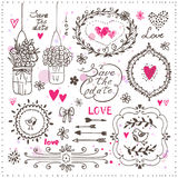 Set of hand drawn elements for your design. Decorative frames, flowers, heart, birds, arrows. Set of hand drawn design elements for wedding decoration. Vector Royalty Free Stock Images