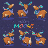 Set with hand drawn elks Royalty Free Stock Image