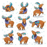 Set with hand drawn elks Stock Photo
