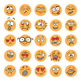 Set of hand drawn emoticons, doodle characters Royalty Free Stock Image