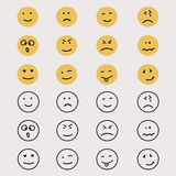 Set of hand drawn emoticons or smileys. Royalty Free Stock Photo