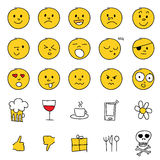 Set of hand drawn emoticons Stock Photos