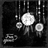 Set of hand drawn ethnic feathers and jewelry pendants and text on black background. Free spirit. Royalty Free Stock Photography