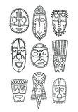 Set of hand drawn ethnic masks of the characters ancient gods. Black outline. Elements for coloring book and design Royalty Free Stock Images