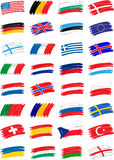 Flags hs. Set of hand drawn european flags Royalty Free Stock Images