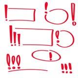 Set hand drawn Exclamation mark. Stock Photo